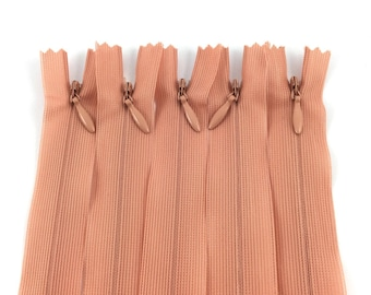 Set of 5 invisible zippers 20 cm not separable old pink