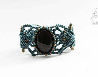 Obsidian macrame bracelet