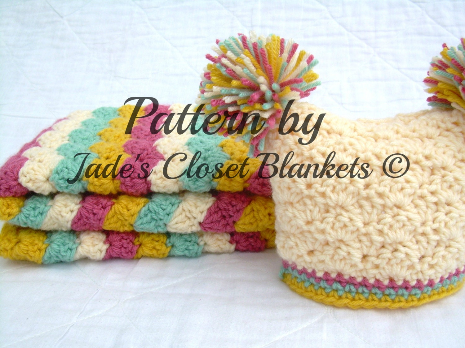Crochet Baby Blanket and Hat Pattern Striped Shell Stitch