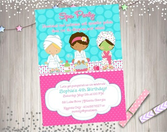 Spa Party Invitation spa invitation spa party invite spa birthday invitation spa party birthday invitation party Printable CHOOSE YOUR GIRLS