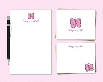 Personalized Stationery Set - BUTTERFLY - Custom Stationary - Stationery Gifts for Girls | butterflies cute gifts teens tweens women