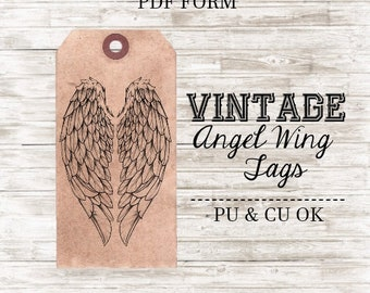 INSTANT DOWNLOAD Vintage Wings Tags... Angel Wings, Fairy Wings, Vintage Tags, Printable Tags, DIY Tags, Heart Wings, Wing Tags, Aged Tags