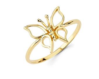 14k Butterfly Ring, Butterfly Ring, Gold Butterfly Ring, Gold Butterfly, Dainty Jewelry, Butterfly Jewelry