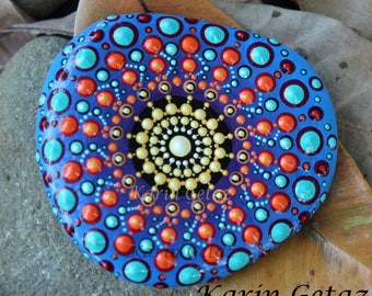 mandala rock, mandala stone, painted rocks, painted stones, dot mandala, rock art, unique mandala, meditation mandala, textured dot art