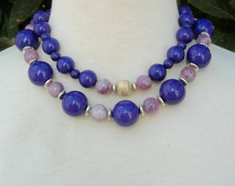For Purple/Mauve Lovers! Mauve Sugilite & Purple Lucite Beads, Sterling Silver Disks, Matching Earrings, 2-Strand Necklace by SandraDesigns