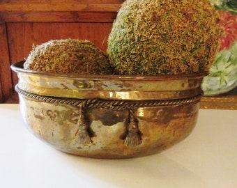 Vintage Brass Cachepot, Brass Tassel and Rope Planter, Hollywood Regency, Brass Planter, The Gilded Tassel