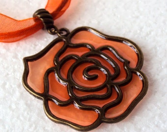 Orange rose pendant, orange vitreous rose pendant, orange necklace, flower resin pendant