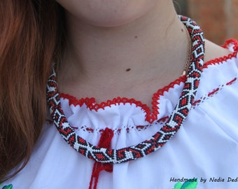 Bead crochet necklace Ukrainian embroidery Ukrainian necklace Ukrainian ethnic Ukrainian pattern Ethnic jewelry Ethnic necklace Gift for her