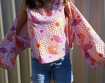 starburst print cotton wrap to stay sun smart and cover your arms