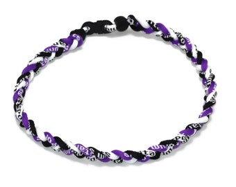 Wholesale 12 pieces lot Custom Purple Black White Baseball Titanium Neckalce Running Tornado Braided Necklaces Birthday Party Team Color