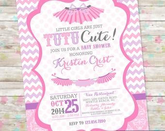 Baby Shower Invite- Baby Girl- Baby Sprinkle Invitation, Tutu Cute, Pink and Purple, DIY Printable Invitation Digital, Baby Sprinkle
