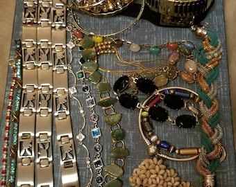Large BRACELET Lot, Assorted Styles, Bangles, Chain Links, Beaded, Strappy, Vintage, Rhinestones, Playboy, Stainless, Wearable, Repurpose
