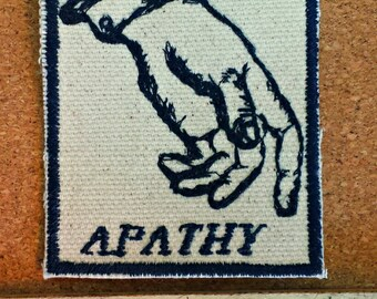 Hand Gesture Embroidered Upcycled Canvas Vintage Graphic Gestures Apathy Jacket Patch