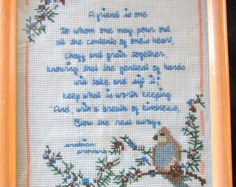 Gift For a Special Friend  Framed  Hand Made Cross Stitch Arabian Proverb Peach Frame  Bird  786