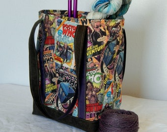 Large zippered tote bag, zippered interior pocket, fully lined, extra long straps, Dr. Who