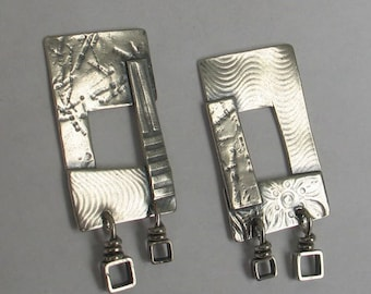 Open Rectangular Sculptural Earrings