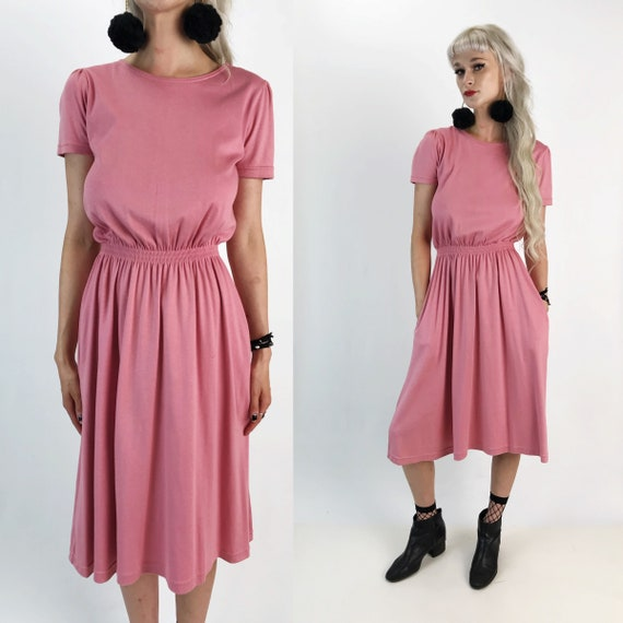 90's Pink Cotton Sundress Midi W/ Pockets Size Small - Dusty Rose Pink Casual Cotton Day Dress w/ Pockets - High Waist Midi Dress LL Bean
