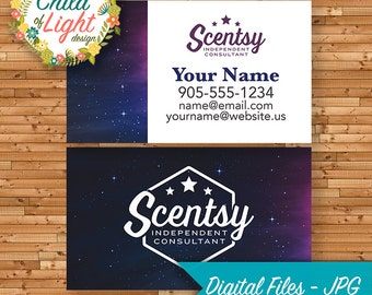 AUTHORIZED SCENTSY VENDOR - Business Cards - Custom - Galaxy Galactic Star - Personalized - Printable