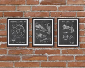 Soccer Art Patent Posters Group of 3, Soccer Cleat, Soccer Goal, Soccer Ball, Soccer Wall Art, Sports Decor, Soccer Gifts, INSTANT DOWNLOAD