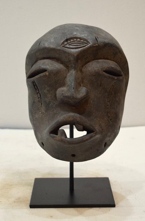 African Mask Helmet Zaire Congo Wood Carved Helmet Mask