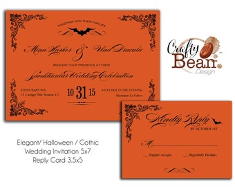Custom Elegant Halloween / Fall / Offbeat Wedding Invitation Printable DIY With Reply Card