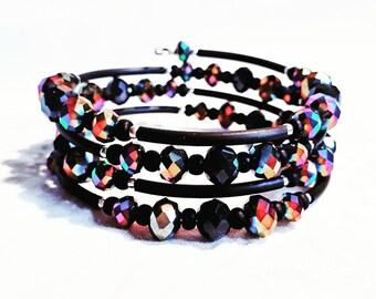 Memory wire wrap bracelet rainbow autumn.