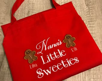 Grandma's Little Sweeties Apron, Personalized Apron, Embroidered Gingerbread Apron, Custom Gift, Grandparent's Gift