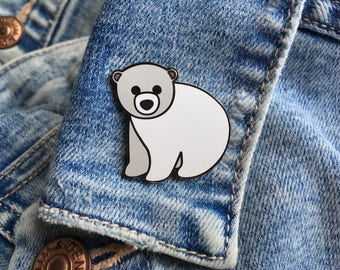 Polar Bear Enamel Pin, Polar Bear Pin, Polar Bear Pin Badge, Cute Animal Pin, Polar Bear Gift, Polar Bear Lapel Pin, Polar Bear Badge, Xmas