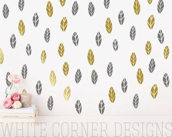 Leaves Wall Decals - leaves Wall Decal Set, Vinyl Wall Decals, Wall Decor, Nursery Wall Decals, Tree Leaves Wall Stickers ga72
