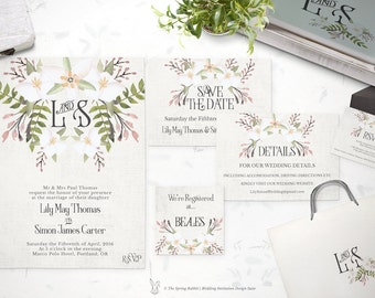 Watercolor Wedding Invitation - Printable Wedding Invitation Suite - Customizable Wedding Invites - DIY Wedding Invitation Set