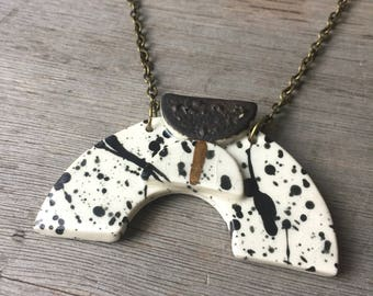 White + Black Speckle Gold Luster Ceramic Geometric Shape Necklace