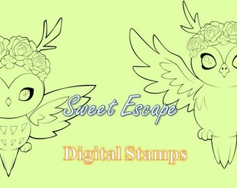 Cute Owls Digital Stamps