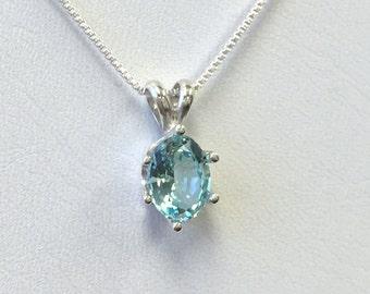 925 Sterling Silver pendant Nanosital 1 ct. Aquamarine Chain Necklace Jewelry. @
