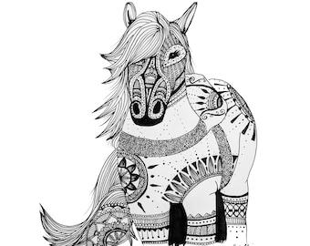 Mandala Horse Print