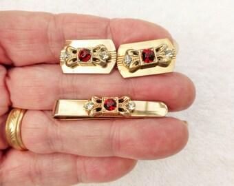 Ornate Victorian Style Gold Plated W/ Rhinestone Cuff Links Tie Bar Set