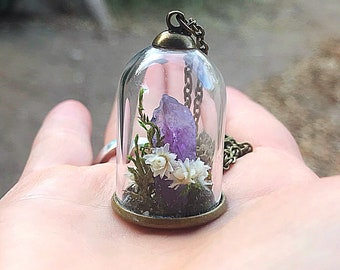Crystal Garden Terrarium Pendant, Reiki-Infused Raw Amethyst Bell Jar Necklace, Natural Healing Stone, Real Flower Statement Jewelry, Boho