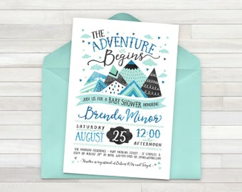 Adventure Baby Shower Invitation, Adventure Baby Shower, Baby Shower Invitation, Adventure, Outdoor Baby Shower - Printable