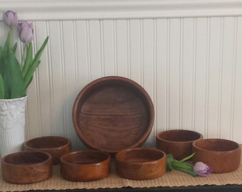 Vintage Teak Wood SALAD BOWL SET, Wooden Salad Bowls, 1970's Dining And Serving, Thailand Made Bowls, Rustic Decor, Farmhouse Decor, Gift