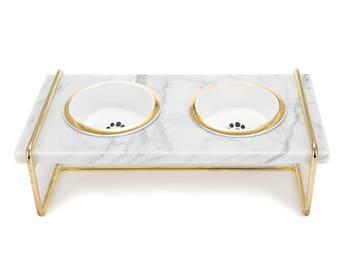 Pet table and 2 bowl-Dog Cat Feeding Dish