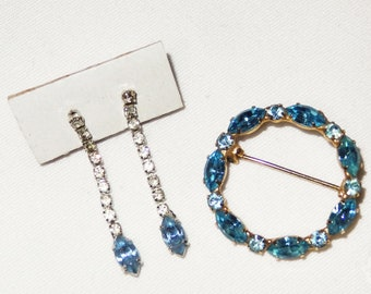 Vintage Circle of Blue Brooch Pin & Blue Tear Drop Earring