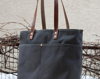 Canvas Tote Bag - FREE Standard Shipping in US - Grey - Bridle Leather - Copper Rivets - Unisex - Made in USA