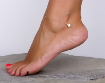 Gold anklet / Gold ankle bracelet / Bridesmaid Anklet / Crystal anklet / Gold Filled anklet / Love anklet /Foot jewelry /CZ bracelet |Tethys