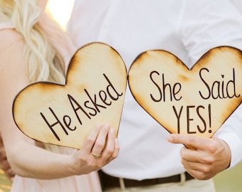 He asked She said Yes engagement Valentine's Day gift photo props, Wooden heart sign