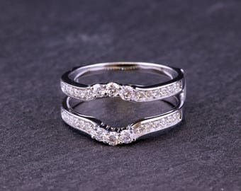 14 Kt, White gold, Diamond, Ring guard