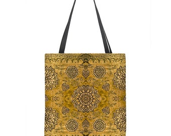 Boho Tote Bag, gold tote bag, floral lace print, bohemian tote bag, large tote, gold bag, bridesmaid gift, gift for her, washable bag