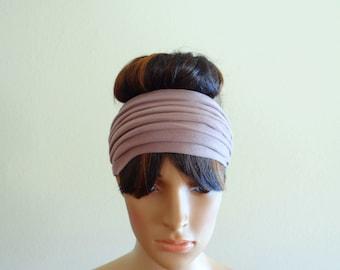 Dark Tan Headband. Wide Head Wrap
