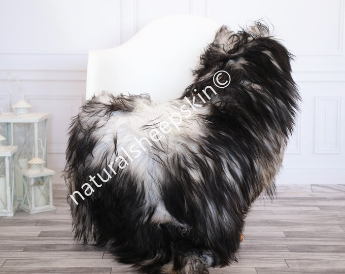 Icelandic Sheepskin | Real Sheepskin Rug | Gray Black Sheepskin Rug | Fur Rug | Homedecor #febisl29