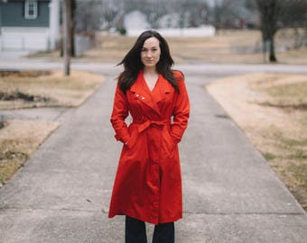 Vintage Red Trench Coat | Small