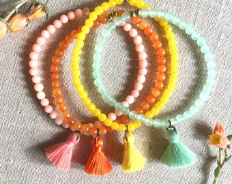 Tassel bracelets, Beaded Bracelets, Stacking Bracelets, Summer Bracelets, Pink Bracelet, Yellow Bracelet, Orange Barcelet, Green Bracelet