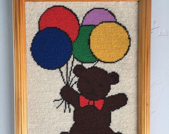 Custom Teddy Bear and Balloon Needlework Framed